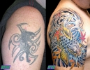 cover up tattoos_panther japanese koi coverup
