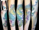 cover up tattoos_cinderella snake cherry blossoms coverup