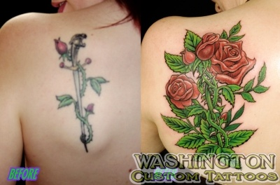 cover up tattoos_rose sword coverup