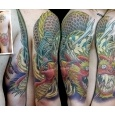 cover up tattoos_japanese hannya mask roses samurai dragon coverup